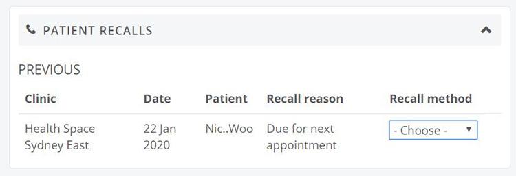 Patient recalls